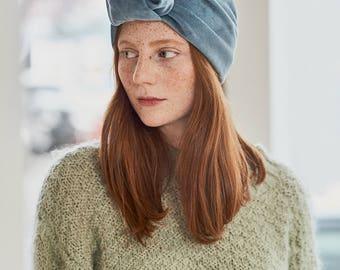Blue velvet turban headband, blue headband, velvet headband, blue turban, blue velvet turban, light blue turban, light blue velvet