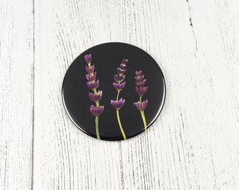 Lavender Watercolour Pocket Mirror / Round Makeup Mirror / Gifts For Mum / Bridesmaid Gift  / Floral Gift / Flower Lover Gift / Mothers Day