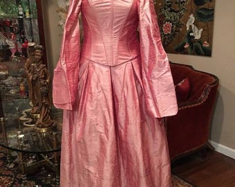 "Vintage Jessica McClintock Pink Silk Ball Gown Size 14 Large 36"" Bust NWT"