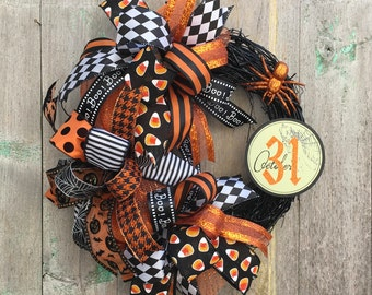 Halloween Grapevine Wreath, Spider Wreath, Halloween Wreath, Halloween Front Door Wreath, Halloween Deco Mesh Wreath, Happy Halloween Wreath