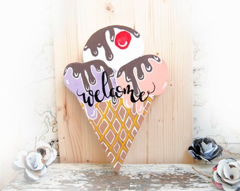 Ice Cream Welcome sign, Ice cream sign for front door, Summer sign, Summer outdoor decor, Wood wreath sign, Ice Cream shop decor, Wall art