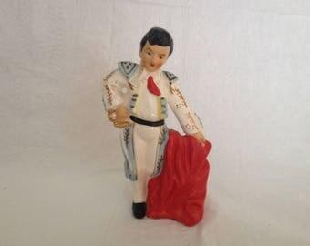 Vintage 1960s Matador Figurine with Red Cape Mid Century