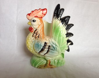 Ceramic Rooster Napkin Holder Made Japan 1950s
