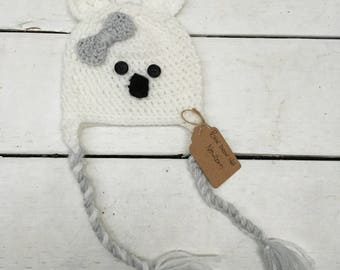 Polar bear crochet hat! (Newborn-Adult)