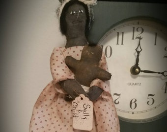 Mamie doll and child, primitive doll, black doll, African American doll, Americana doll, OFG, FAAP, doll tuck, doll shelf sitter,