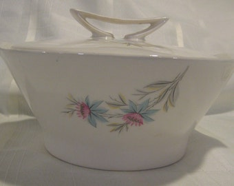 Fairlane covered bowl by Steubenville- blue and pink flowers and gray leaves