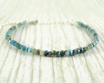 Gemstone bracelet larimar jewelry crystal bracelet delicate bracelet raw bracelet birthstone bracelet minimalist bracelet tiny bracelet gift