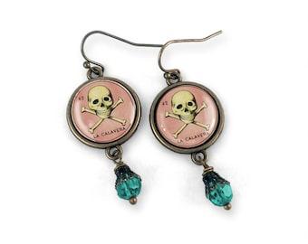 La Calavera- Loteria Skull Earrings