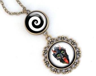Krampus necklace- Two level Krampus pendant, Leering Krampus Face