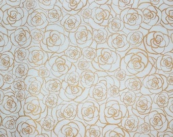 Metallic Gold Roses Fabric, Metallic Gold Fabric, Fabric by the yard, Fat Quarter, Quilting Fabric, Apparel Fabric, 100% Cotton Fabric