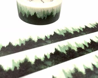 abstract forest washi tape 7M x 1.5cm forest drawing pine tree forest scenes winter Landscape tree scenes ink painting deco sticker tape