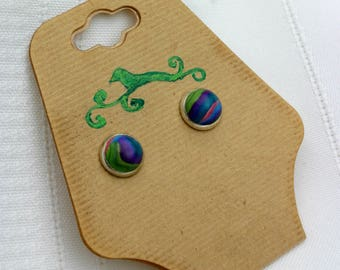 Pink - Blue - Green marbled stud earrings