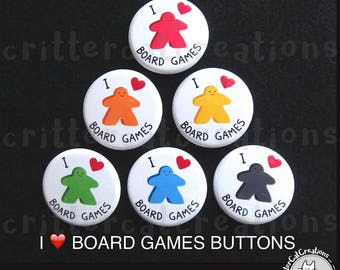 Board Game Meeples Buttons/Badges SET