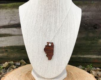 Illinois Necklace, Illinois State Necklace, Wooden State Necklace, Illinois Jewelry,  Personalized Gift, Going Away Gift