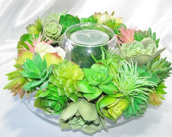Faux Succulent Wreath Centerpiece with Candle, Artificial Succulent Arrangement, Modern Arrangement, Succulent Centerpiece , Succulent Gift