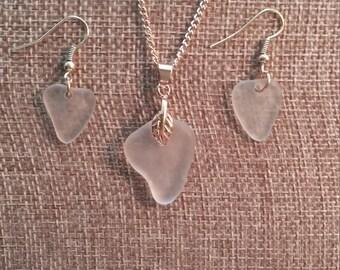 Sea glass necklace earring set