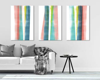 abstract art oversized wall art large canvas art colorful wall art triptych