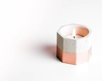 Hexagonal Rose Gold Concrete Candle Tealight Holders | Handmade | Copper | Rose Gold | Gold | Brass | Personalised Gift | Matt Black