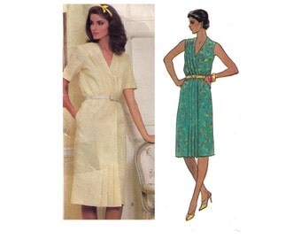Vogue 7971, sewing pattern, size 10 women's loose fitting dress, blouson bodice, wrap dress pattern, summer dress