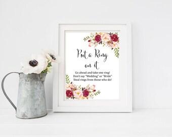 Burgundy Boho Put a Ring on It Bridal Shower Game, Printable Marsala Floral Dont Say Game, Boho Dont Say Bride Shower Game, Download, 120-W