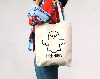 Free Hugs - Funny Quote Tote Bag - Sarcasm Tote Bag - Ghost Bag - Halloween Bag - Ghost Tote Bag - Sarcastic - Horror - Halloween gift