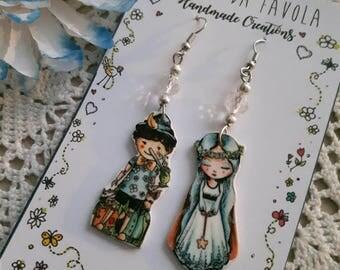 PINOCCHIO Earrings, orecchini favole, Bijoux da Favola, Fairy Jewellery