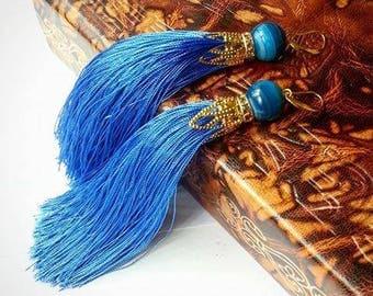 Blue earryngs with tassels, Spring Earrings, Spring Jewelry, Colorful Tassel Earrings, Colorful Earrings, Tassel Earrings
