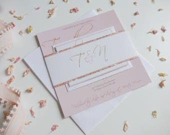 Rose Gold and Blush Wedding Invitation set, Wedding Invite, RSVP, Glitter