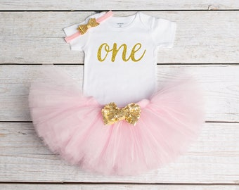 1st Birthday Onesie, First Birthday Tutu, 1st Birthday Outfit, Pink and Gold Birthday Tutu, Sewn Tutu, Gold Glitter Onesie, Cake Smash Tutu