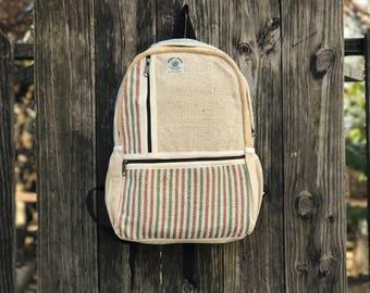 Pure Hemp Handmade backpack, T-Multi Pocket, Padded Laptop