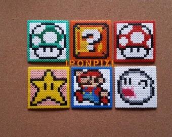 6 coasters Mario Mini Nintendo Games [Pixel Art.