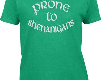 Prone To Shenanigans - White Womens Short Sleeve T-shirt -SPD St Patricks day Clover Irish Lucky Drinks Beer -DT-01191