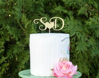 Wedding Cake Topper L Initials Personalized Engagement