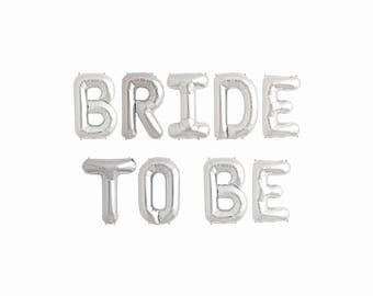 Bride To Be Balloons Letter Banner | bridal shower decor bachelorette party engagement photo prop gold silver pink rose gold