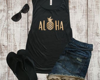 Aloha Beach Muscle Tee, Muscle Shirt, Beach Shirt, Brunch Shirt, Workout, Tank Top, Beach, Yoga Top, Graphic Tee, Hawaii Shirt, Pineapple