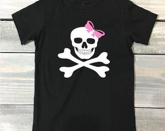 Skeleton Bow Kids Halloween T Shirt, T-Shirt, Halloween, Kids Shirt, Girls Halloween Shirt