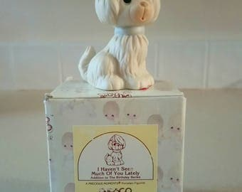 """Precious Moments """"I haven't seen much of you lately"""" Birthday Series Dog Figurine with Original Box"""