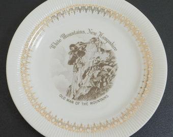 Vintage White Mountains Plate, Old Man of the Mountains, Travel Souvenir, New Hampshire, Views of America Series, ENCO, Natural Landmark