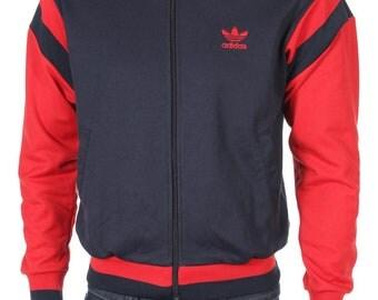 Vintage Adidas Trefoil Track Top Windbreaker jacket Color Block Blue/Red/ Size M