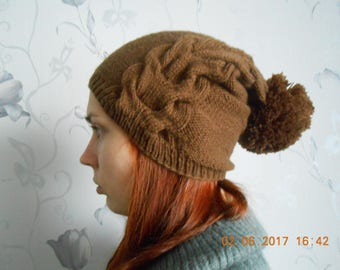 Brown knitted hat Women's knitted hat Knitted hat Knitted women's cap Brown women's hat Women's hat Brown hat Winter hat Gift for her