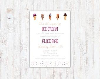 Printable Birthday Invitation - Watercolor Ice Cream & Sprinkles - Purple, Pink, Beige - Digital File Only