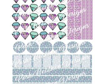 Pastel Gem Sticker Sheet-INSTANT DOWNLOAD