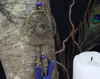 Lapis Lazuli Dreamcatcher necklace - dream catcher - gem stones - Bohemian - nature - Gypsy - hippie