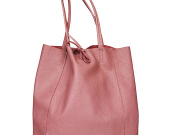 Beatrice Pink Leather Shopper Bag