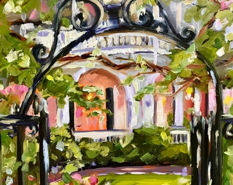 original art// Charleston painting//South Carolina/ two meeting street/historic house/ garden gate/impressionist style/8x10