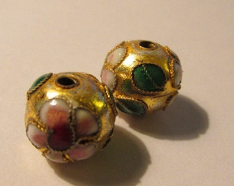 Golden Chinese Cloisonne Enamel Bead with Floral Motif, 10mm, Set of 2