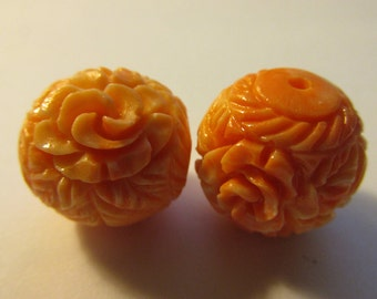 Carved Faux Pink Coral Rose Blossom Resin Beads, 18mm, Set of 2