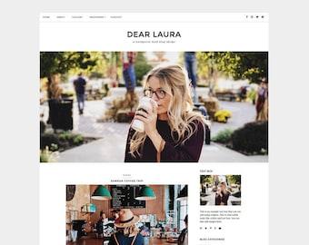 SALE | Dear Laura WordPress Theme | minimal, grid, white, brown, blog, website, template