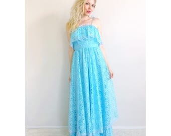 Vintage ruffle dress   light blue lace maxi dress 70's gown party dress evening gown summer dress lace ruffles 1970's prom   size xx-small