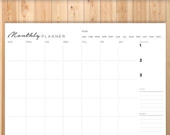 Montly Planner, Printable, Planner, PERSONAL SIZE, Ring Bound, Filofax Personal Agenda, A4, A5, Letter